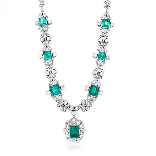 Albert Hern Unique Master Piece Necklace 18kt White Gold 7 Natural Colombian Emeralds 76 Natural Round Diamonds | High Jewelry for Womens