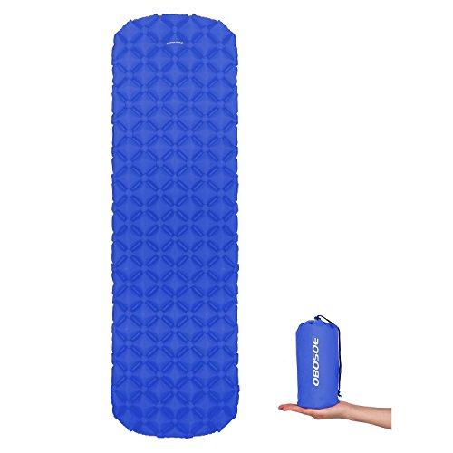 OBOSOE Ultralight Sleeping Pad, Inflatable Waterproof Leakproof Compact Air Sleeping Mat Suitable for Camping, Backpacking, Hiking, Sleeping Bag, Hammock, Extremely Lightweight and Backpacker Friendly