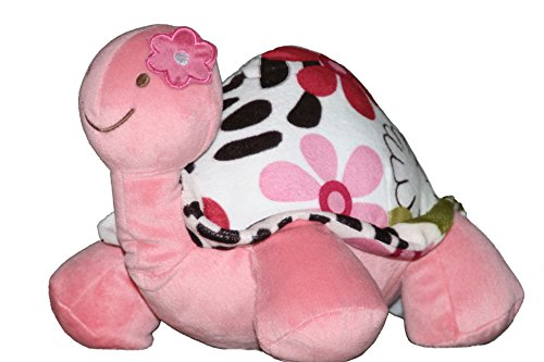 Plush Turtle Stuffed Animal for Girls with Pink Flowers. A P