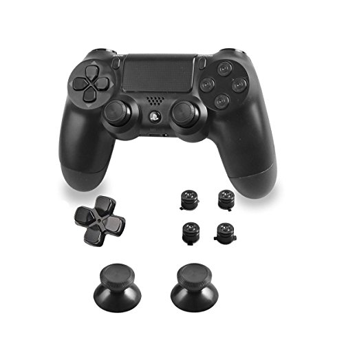 Xinkeen Aluminum Alloy PS4 Controller Replacement Thumbsticks Bullet ABXY Buttons and Directional Pad Mod Kit for Playstation 4 DualShock 4 (Black Gray)