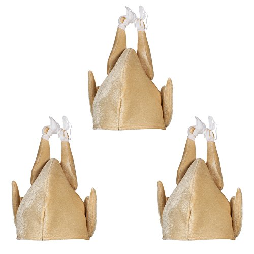 3 Pack Turkey Hat Plush Thanksgiving Day Roasted Turkey Hat Brown]()