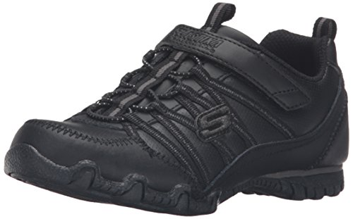 (Skechers Girl Biker II School Star Uniform Sneaker, Black/Black, Little Kid (4-8 Years), 1 M US Little Kid)