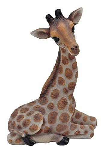 Exotic African Hand Painted Cast Sitting Giraffe 10