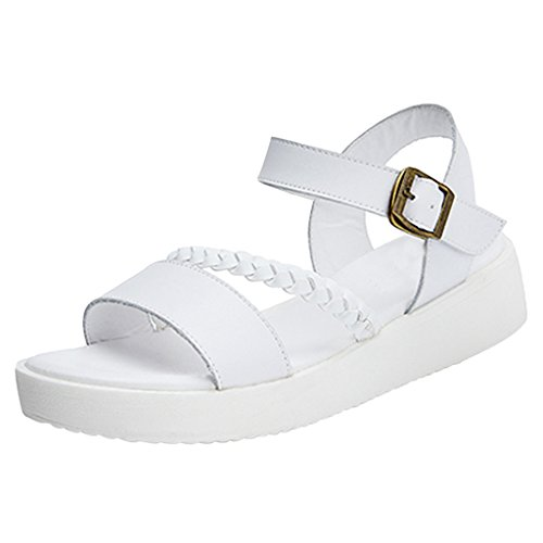Dear Time Women Low Heel Summer Sandals White ojtoCM3np