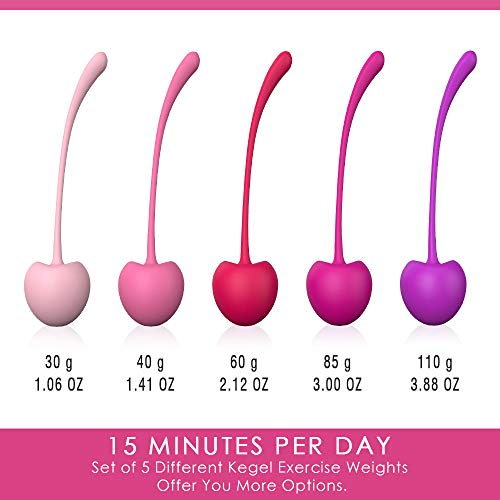 Shibari Cherry Kegel Balls, 5 Piece Variable, Weighted Set to Exercise and Tone Pelvic Floor Muscles, Made with Premium Grade Silicone
