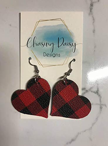 Plaid Heart Earrings // Valentines Day Earrings // Leather Earrings//Double Sided