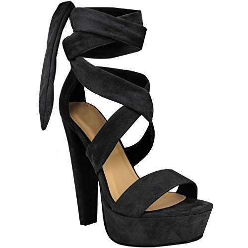 Fashion Thirsty Womens Tie Lace Up Ankle High Heels Block Platforms Party Open Shoes Size 9