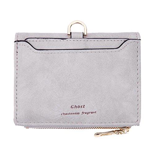 Purses Grey Zipper Purple Clutch Women Light Small Card Wallets PU Widewing Coin Simple XwqtoA7AS