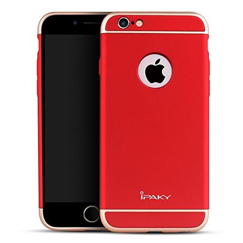 iPaky iPhone 6s Plusケース、3ピースジョイントケース、メタリック仕上げ(レッド)   B017ZJ82PI