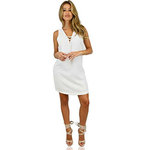 Ohconcept Women's LaceUp Shift Dress, White,