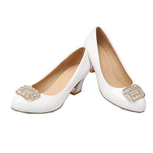 Agoolar Rond Chaussures Tire Couleur Verni Femme L Unie ZqZcwr64