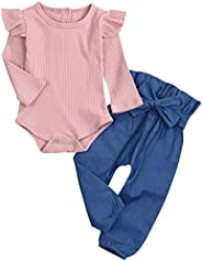 AmzBarley Baby Girls Outfit 3Pc Newborn Clothes Set Cute Ruffle Long Sleeve Tops and Floral Long Pant with Headband Clothing