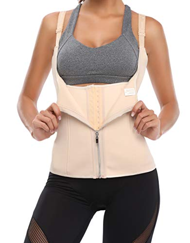 Free island Waist Trainer Corset Zipper with Straps for Tummy Control Sport Body Shaper Vest P3XL Apricot (Best Waist Trainer Corset)