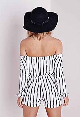 1ae4c265fe Womens Striped Bardot Playsuit White - 10  Amazon.co.uk  Clothing