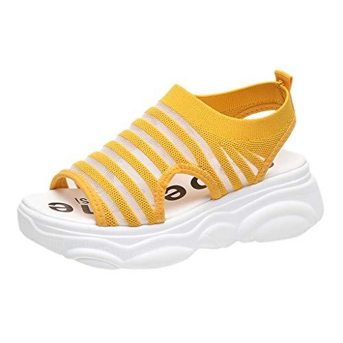 SUNyongsh Fish Mouth Breathable Sandals Women's Fashion Open Toe Wedge Sandals Mesh Weaving Shoes Orange -