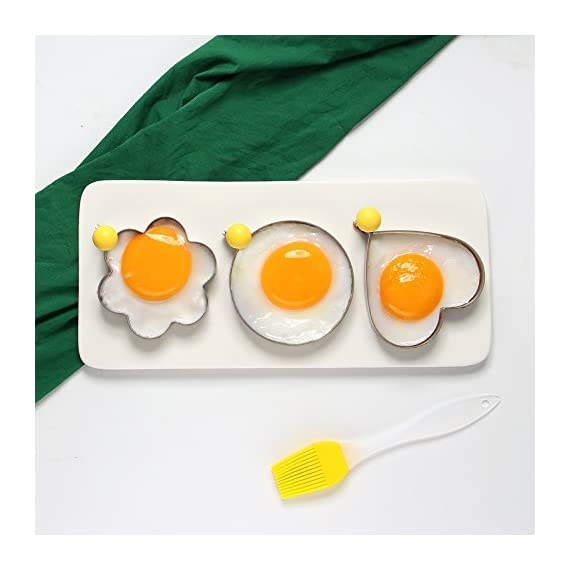 ShengHai Fried Egg Mold Ring Pancake Cooker, Nonstick Stainless Steel Egg Form for Frying Cooking, Set of 4 With 1 Free Silicone Brush 4 ENJOY A COLORFUL BREAKFAST - 4PCS Different Shapes Fried Egg Ring Set: heart; Star; Round and Plum Flower. Avoid boring. Special design for cooking eggs or pancakes for your lover as well as your family. Cute for Fun Food - You can make pancake or egg more interesting with funny shapes. Good for the picky eater especially kids. HIGHER QUALITY: Made of food grade stainless steel. You can also use the egg and pancake molds to make any delicacy you can think about, such as cookies, dessert, jelly, pastry, chapatti. Just have them and get your imagination started!