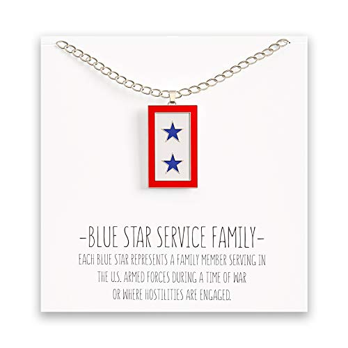 Happy Kisses Blue Star Service Flag Necklace - Blue Star Mom Pendant- One, Two & Three Stars - Message Card (Two Blue Stars) ()