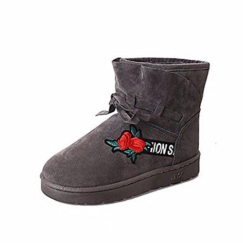 ZHUDJ Damenschuhe Pu Winter Schnee Stiefel Absatz Runder Blume Für Casual Armee Grün Grau Schwarz Gray