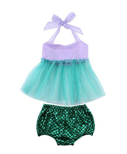 Rush Dance Princess Little Cute Mermaid Dress Ariel Costume Cosplay Swimwear (80 (6-12M), Lavender Top & Green (Cute Mermaid Costume)