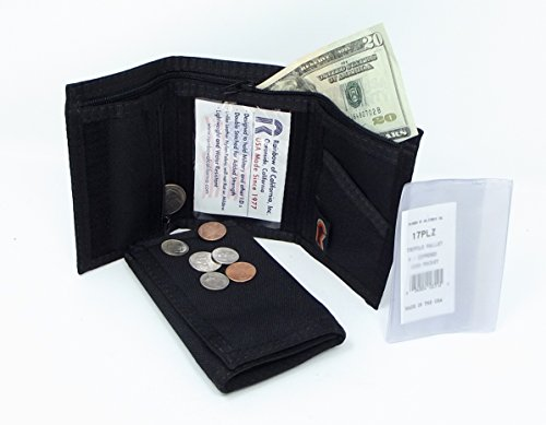 Rainbow Tri Fold Wallet - Trifold Hook and Loop Wallet with Zipper Coin Pocket - Black - MADE IN U.S.A.
