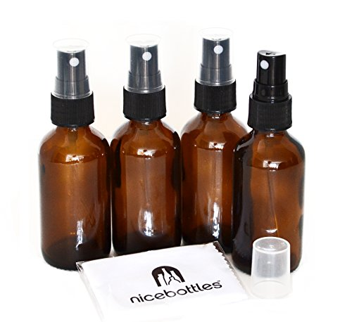 Glass Spray Bottles, 2 Oz Amber Boston Round with Fine Mist Sprayer - Pack of -