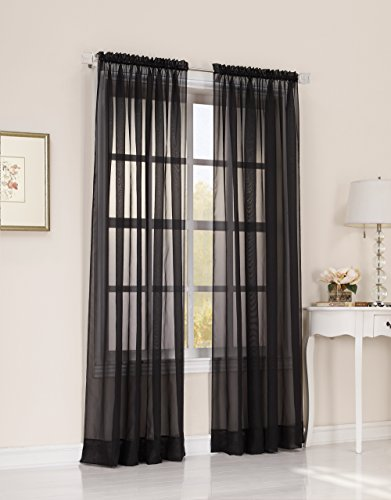 No. 918 Emily Sheer Voile Curtain Panel, 59″ x 84″, Black