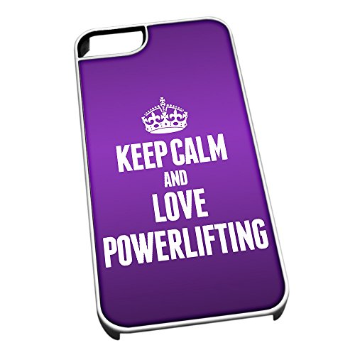 Bianco cover per iPhone 5/5S 1853 viola Keep Calm and Love powerlifting