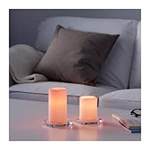LED block candle in/out, set of 2, battery-operated pink
