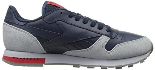 Reebok Uomo Cl In Pelle Grigio Moda Sneaker College Blu Scuro / Grigio Nuvola / Lega / Rosso Primitivo