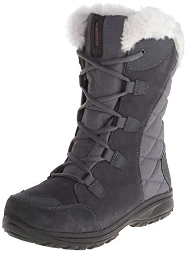Baby Goat Leather - Columbia Women's ICE Maiden II Snow Boot, Shale, Dark Raspberry, 8 B US