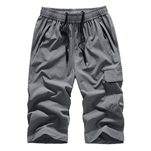 Plus Size Men's Shorts Classic-fit Quick Dry Sports Beach Shorts Pants with Multi-Pocket and Drawstring Gray