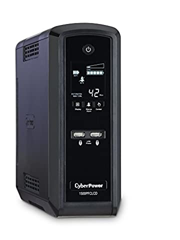 CyberPower CP1500PFCLCD PFC Sinewave UPS System, 1500VA/900W, 10 Outlets, AVR, Mini-Tower (Ups Cyberpower)