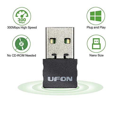 USB WiFi Adapter 300Mbps Plug and Play WiFi Dongle for PC Desktop Laptop,Wireless Network Adapter Support Windows 10/8/8.1/7/XP,Nano Size No CD Needed