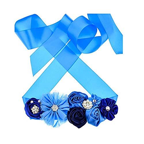 Maternity Sash Belt with Flower Bridal Rhinestone Belt for Women Wedding,Pregnant Baby Shower Party Photoshoot (Royal Blue)
