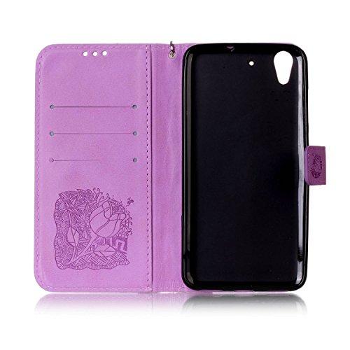 Funda Huawei Y6II , Carcasa Plegable para Huawei Honor 5A, Funda de cuero Huawei Honor 5A, Lifetrut Sólido Shiny Sparkle libro de estilo funda de cuero con ranura para tarjetas de cierre magnético sop E212-Flor de rosa en púrpura