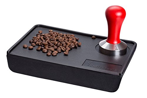 Coffee Tamper Standard for Espresso, Stainless Steel and Handle from solid wood (51mm, Red)