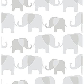 Wall Pops NU1405 Gray Elephant Parade Peel and Stick Wallpaper