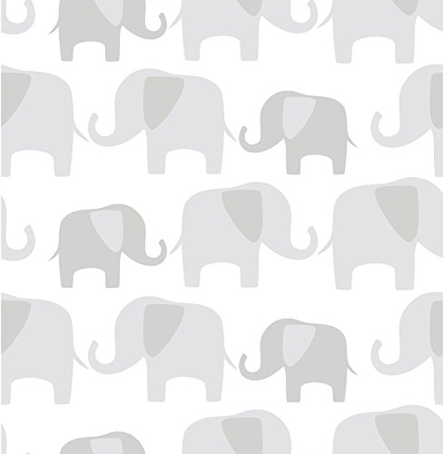 Babies Wallpaper - Wall Pops NU1405 Gray Elephant Parade Peel and Stick Wallpaper