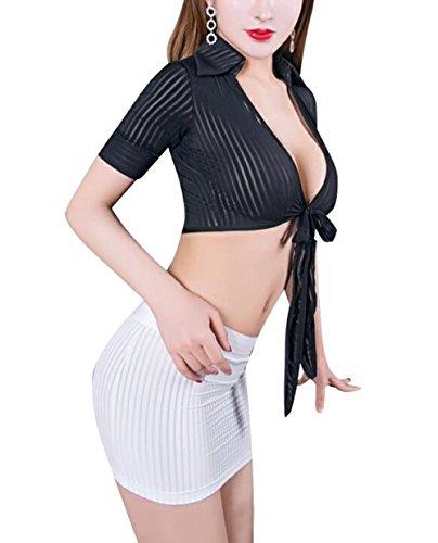 Bhwin Women Sexy Lingerie Set Secretary Uniform Cosplay Blouse Skirt Set (Black+White)