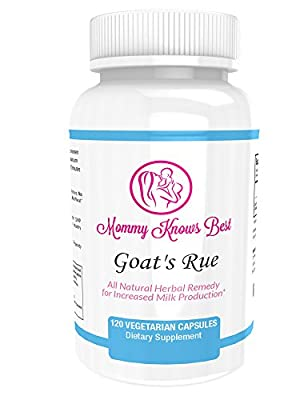 Goat's Rue Lactation Aid Support Supplement for Breastfeeding Mothers - 120 Vegetarian Capsules by Mommy Knows Best