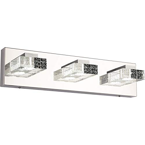Vanity Lights,SOLFART 3 Head Glass Wall Bathroom Mirror Bath Long LED Vanity Lighting Fixtures (White Light-4500K)