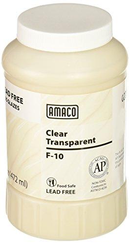 AMACO F Lead-Free Non-Toxic Glaze, 1 pt Plastic Jar, Clear Transparent F-10 - 351728