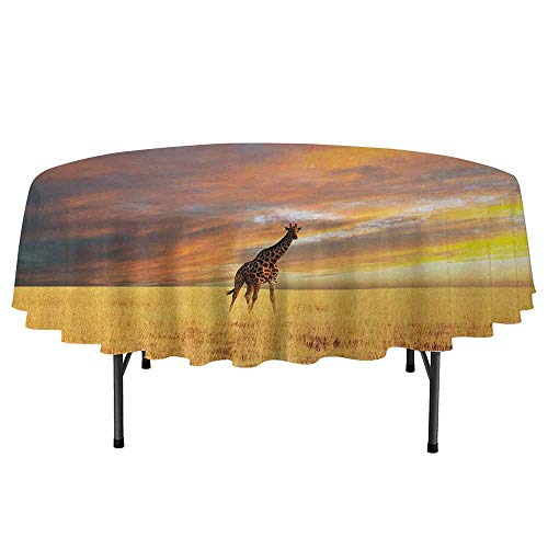 DouglasHill Giraffe Leakproof Polyester Round Tablecloth Animal in Savannah Under Clouds at Sunset African Wildlife Themed Safari Outdoor and Indoor use D70 Inch Yellow Blue Mauve