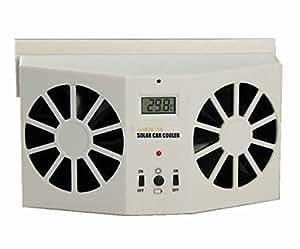 Ivory Corlor Solar Dual Fan Car Front/Rear Window Air Vent Cool Cooler Fan Dossy