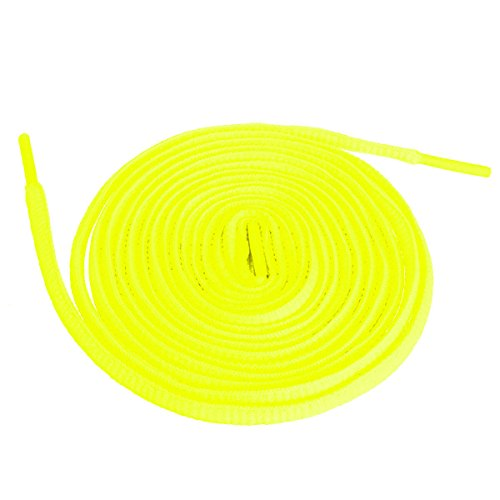 "Shoeslulu 46"" Premium Flat Laces Fashion Sneakers Shoes (46 in. (117 cm), Neon Yellow)"