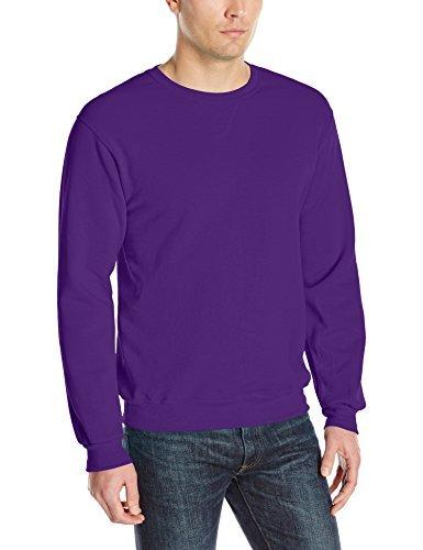 Fruit of the Loom Men's Fleece Crew Sweatshirt, Purple, Medium
