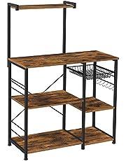 VASAGLE keukenplank, staande plank met metalen mand, bakkerijplank met 6 S-haken en planken, magnetronplank, kruidenrek, voor potten en pannen, industrieel ontwerp, vintage bruin-zwart KKS35X