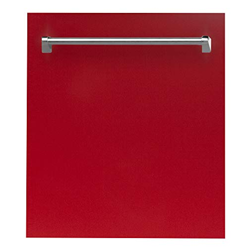 24 in. Top Control Dishwasher in Red Gloss with Stainless Steel Tub and Traditional Style Handle