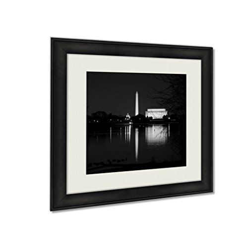 Ashley Framed Prints Washington Dc Monuments Reflecting In The Potomac River, Wall Art Home Decor, Black/White, 26x26 (frame size), AG5580259 by Ashley Framed Prints