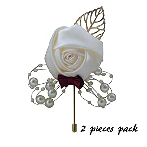 Florashop 2 pcs Package Satin Rose Gold Colored Leaf Men's Boutonniere Groom Boutonniere Bridegroom Boutonniere for Wedding Prom Party 59
